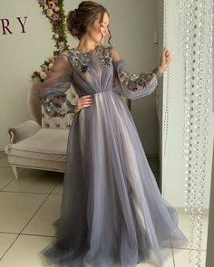Long Sleeves New Arrival Tulle Long Modest Gray Prom Dresses with Appliques, Prom Dress Grey Prom Dress, Prom Dresses Long With Sleeves, Ball Dresses, Dress Long, Muslim Prom Dress, Flowy Prom Dresses, Long Sleeve Evening Dresses, Flapper Dresses, Long Prom Gowns