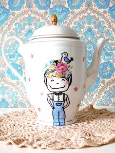 hand painted flower girl  tea / coffee pot by BOshop on Etsy, €26,00