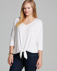 Karen Kane Plus Size Fashion White Dolman Sleeve Tie Front Top #Karen_Kane #White #Plus_Size_Fashion #Bloomingdales
