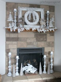 Christmas mantel decorated in white for a winter wonderland theme. Winter Wonderland Decorations, Diy Christmas Decorations For Home, Winter Wonderland Theme, Winter Wonderland Christmas, Vintage Christmas Ornaments, Winter Decorations, Christmas Fireplace, Christmas Mantels, Rustic Christmas