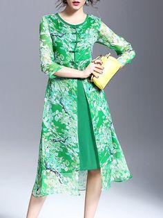 Green Crew Neck Plain Floral-print 3/4 Sleeve Midi Dress