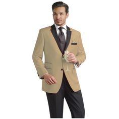 SKU#JZS33 Tan Beige Two Button Notch Party Suit Tuxedo Blazer w/ Black... (39,525 INR) via Polyvore featuring outerwear, jackets, blazers, black tuxedo blazer, tan tuxedo, tan jacket, tuxedo blazer and black jacket