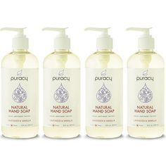 Puracy Natural Liquid Hand Soap, Sulfate-Free Hand Wash, Lavender and Vanilla, 12 Ounce Bottle, (Pack of ** You can find more details by visiting the image link. Organic Tea Tree Oil, Organic Soap, Organic Coconut Oil, Organic Shampoo, Organic Face Cream, Organic Body Wash, Vanilla Essential Oil, Essential Oils, Liquid Hand Soap