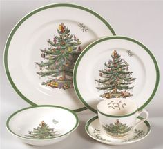 'Christmas Tree' was one of the most important designs for the Spode company (c.1767) that was located in Stoke-on-Trent until closing in 2009. The pattern was successful from the moment of its introduction in 1938. Sales of this pattern, particularly into the US market, saved the company during lean times on more than one occasion. In the last quarter of 1999 Spode's Christmas Tree was recorded as the largest selling casual dinnerware pattern in the USA.