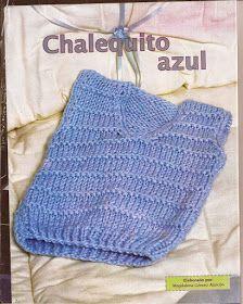 TEJER GANCHILLO CROCHET: CHALECO AZUL PARA BEBÉ PATRÓN Diy Crochet Cardigan, Crochet Vest Pattern, Crochet Shawl, Crochet Yarn, Crochet Patterns, Crochet Top, Diy Crafts Knitting, Crochet Projects, Baby Boy Vest