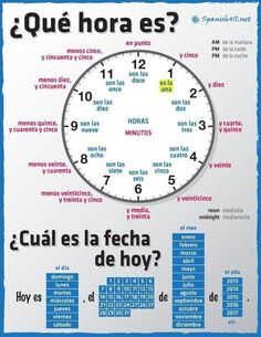 "♥♥♥ La hora, los meses, los dias... There is a little mistake in the anchor chart. You dont need to add the article ""el"" after write the day of the week and before the number of the day. It is like this: Hoy es sábado 7 de febrero de 2015"