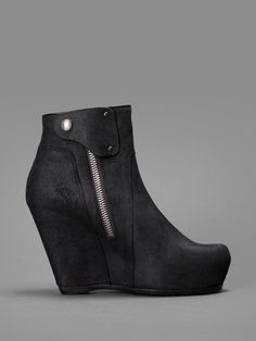 Rick Owens black matte leather wedges