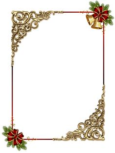 Christmas Gold PNG Photo Frame with Red Bow