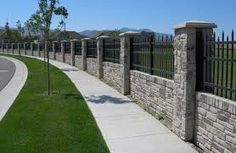 wrought iron fence on top of block wall - Google Search Brick Fence, Front Yard Fence, Metal Fence, Stone Fence, Farm Fence, Dog Fence, Privacy Walls, Privacy Fences, Wrought Iron Fence Panels