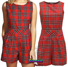 New Womens Tartan Check Print All In One Jumpsuit Ladies Playsuit Party Dress #Glamourfashion #Playsuit