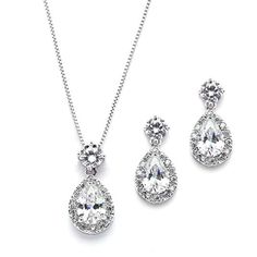 Mariell Pear Shaped CZ Teardrop Necklace and Earrings Set - Wedding Jewelry  for Brides   Bridesmaids d63c0f4c296e