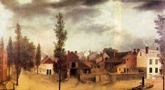"""Landscape artist Francis Guy painted """"Summer View of Brooklyn"""" in 1820 from the vantage point of 11 Front Street in today's DUMBO. That means this collection of tidy barns and houses would be located under the Brooklyn Bridge."""