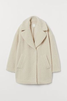 Short Faux Shearling Coat - Cream - | H&M US 4