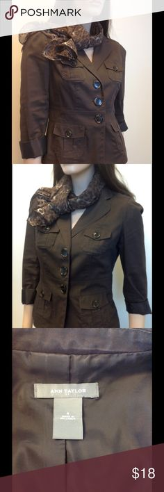 Ann Taylor cotton jacket with tortoise buttons The perfect casual Friday jacket.  Roll up the sleeves and it just adds some polish to a simple t shirt with jeans outfit.  Gently worn and in great condition. Ann Taylor Jackets & Coats Blazers
