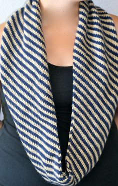 Knitted Infinity Scarf  Accessory  Navy & Tan  by CMKnitsSF