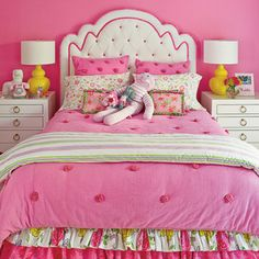 Hot Pink Bedroom - Bright and Colorful Rooms - Coastal Living Pink Teen Bedrooms, Coastal Bedrooms, Trendy Bedroom, Modern Bedroom, Girls Bedroom, Coastal Living, Bedroom Wall, Bedroom Decor, Bedroom Green