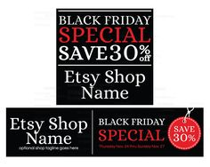 Etsy Cover Photo - Etsy Shop Covers - Black Friday Etsy Shop Covers - 2 Piece…