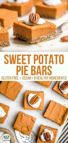These Sweet Potato Pie Bars are Gluten-Free Vegan and made with only 9 healthy ingredients Perfectly spiced Refined Sugar-Free and Oil-Free vegan glutenfree sweetpotato sweetpotatopiebars plantbased falldessert via Desserts Végétaliens, Desserts Sains, Vegan Sweets, Healthy Dessert Recipes, Healthy Desserts, Sugar Free Vegan Desserts, Easter Desserts, Healthy Bars, Healthy Vegan Snacks