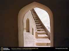 Doorway in the observatory Jantar Mantar, Jaipur, India