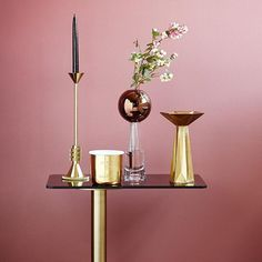 Dusty-rose walls and our new mixed-metal collection from acclaimed designer, Tom Dixon , major swoon!!