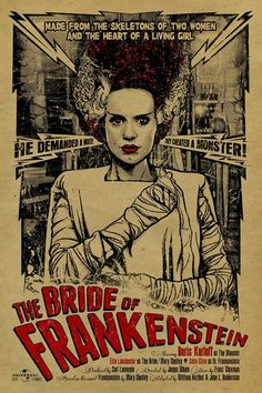 This poster is a tribute to Elsa Lanchester as The Bride of Frankenstein a American horror film the first sequel to Frankenstein The Bride Horror Movie Posters, Classic Movie Posters, Movie Poster Art, Cinema Posters, Film Posters, Classic Monster Movies, Classic Horror Movies, Classic Monsters, Retro Horror