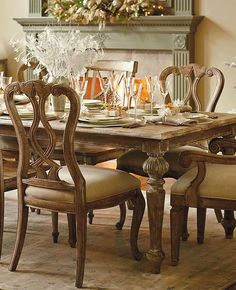 Boasting a subtle pecan veneer and ornate carved details, the Avignon Dining Collection adds romance and rustic style to your dining room.