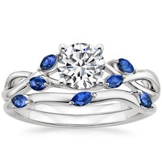 18K White Gold Willow Ring With Sapphire Accents from Brilliant Earth