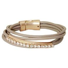 Tasha Leather Bracelet in Taupe