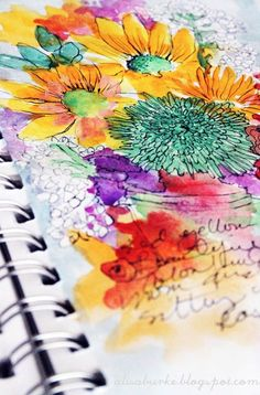 A beautiful art journal/sketchbook page from artist Alisa Burke. Love Alisa Burke Kunstjournal Inspiration, Art Journal Inspiration, Creative Inspiration, Watercolor Flowers, Watercolor Paintings, Watercolors, Watercolor Journal, Watercolor Tips, Watercolor Images