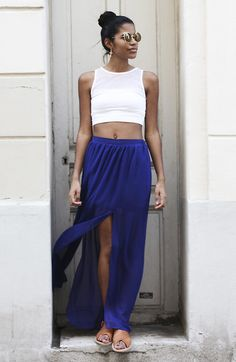 Topshop Crop Top, H Skirt, Zara Sandals