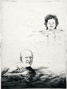 Arne Bendik Sjur. Dad, Why did we never get to know your body? I, 1984. Drypoint. Edition of 18. 4-3/4 x 3-1/2 inches.