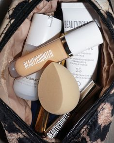 A sneak peek into one of our many makeup bags. 🔍 ✔️ The Better Blender ✔️ Skin Twin Creamy Concealer ✔️ Brilliant Brow Gel ✔️ Countermatch Adaptive Moisture Lotion ✔️ Countersun Daily Sheer Defense For Face - SPF 25