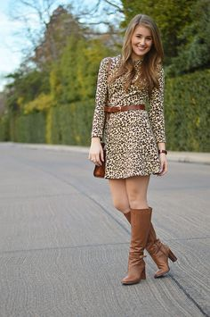 leopard golightly (a lonestar state of southern) Outfits Otoño, Stylish Outfits, Spring Outfits, Winter Outfits, Fashion Outfits, Womens Fashion, Ladies Wellies, Clothes 2019, Skirts With Boots