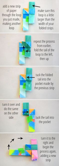 Paper bracelets with watercolor drawings then cut strips, and fold.