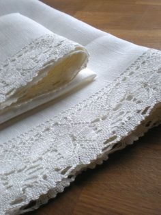 Pure linen with white linen lace tea towels