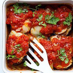Bakłażan z serem kozim i pomidorami - Przepis
