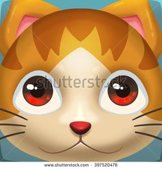 Creative Illustration and Innovative Art: Cat Face Icon. Realistic Fantastic Cartoon Style Artwork Scene, Wallpaper, Story Background, Card Design  - stock photo