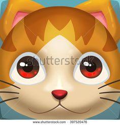 Creative Illustration and Innovative Art: Cat Face Icon. Realistic Fantastic Cartoon Style Artwork Scene, Wallpaper, Story Background, Card Design  - stock photo