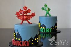 PJ Masks cake! www.facebook.com/chellesbakeshop Oswego, NY Theme Parties, 4th Birthday Parties, 2nd Birthday, Party Themes, Party Ideas, Pj Masks Birthday Cake, Twin Birthday Cakes, Twins Cake, Mask Party