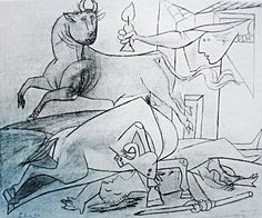 Picasso: Guernica Sketch no.08: http://www.pablopicassoguernica.com/projects/picassoguernica/