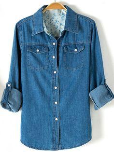 Blue Lapel Long Sleeve Boyfriend Trends Jean Swish Bleached Denim Blouse -SheIn(Sheinside) Mobile Site