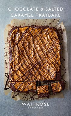 This indulgent chocolate traybake is the perfect excuse for baking. For the topping, spread over salted caramel icing and drizzle with melted chocolate. Tap for the full Waitrose & Partners recipe. Tray Bake Recipes, Baking Recipes, Cake Recipes, Dessert Recipes, Chocolate Traybake, Chocolate Tarts, Chocolate Icing, Salted Caramel Icing, Desserts Caramel