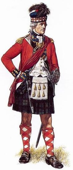 """Officer, 42nd (Royal Highland) Regiment of Foot, 1768-1784 - """"This man wears the full dress uniform of an officer in a Highland regiment of the British army, as established in 1768. The 42nd Foot stationed in Newfoundland and Nova Scotia during the final years of the American Revolution. Highlanders often wore more prosaic uniforms when on campaign in North America. Trousers would replace the kilt, if supplies of tartan cloth were unavailable."""""""