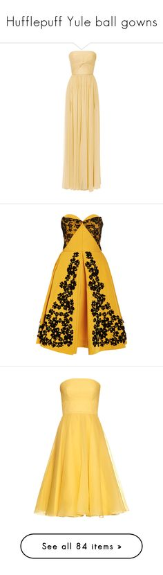 """""""Hufflepuff Yule ball gowns"""" by weeby ❤ liked on Polyvore featuring fans, dresses, gowns, elie saab, long dresses, iris, beige long dress, knot dress, elie saab dresses and strapless dresses"""