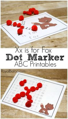 Xx is for Fox Dot Marker ABC Printables. Free Learn to Read and Alphabet printables for preschool and kindergarten.