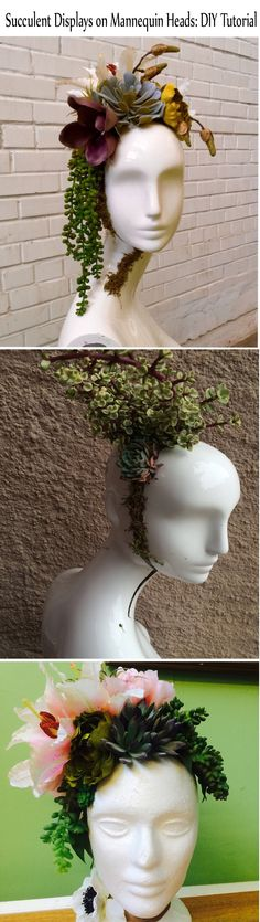 Tutorial for creating three different floral designs using mannequin heads and succulents