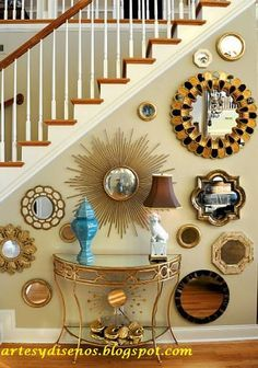 Image via House of Turquoise I have mirror envy. Of no mirror in particular. Just mirrors of all shapes and sizes, any sort of frame, both . Mirror Gallery Wall, Round Wall Mirror, Mirror Mirror, Wall Mirrors, Mirror Collage, Mirror Stairs, Bronze Mirror, Mirror Panels, Mirror Bedroom