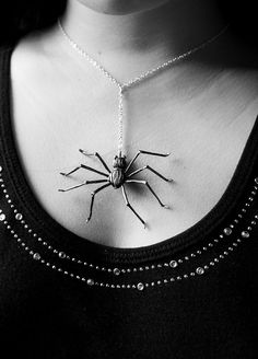spider necklace  spider handmade by polymer clay by Joyloveclay, $25.00