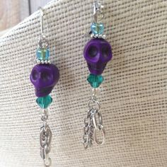 Purple and Green Day of the Dead Skull Earrings by GenXNostalgia