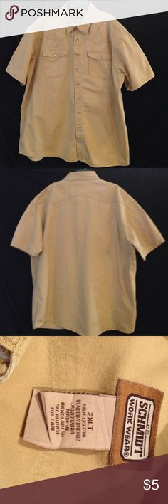 Men's Thick Canvas Work Shirt Thick canvas work shirt in good condition. it does has two tiny holes on the back, shown above. Great add on for a fashion buy to get my bundle discount and also spoil the hubbie. Schmidt Work Wear Shirts Casual Button Down Shirts